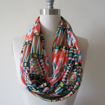 Wide Coral, neon yellow green, turquoise graphic tribal batik print, mixed print chiffon Infinity Scarf Loop Scarf Circle Scarf