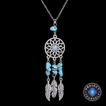 Natural Crystal Charm Dream Catcher Pendant Necklace