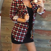 Penny Plaid Flannel Top: Red/Black