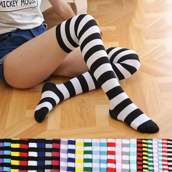 Black, Blue, Pink, Gray, Yellow, Green Stripes Collection Over The Knee Thigh Socks - Women High Socks