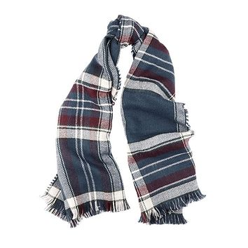 Reversible Plaid Wrap in Red and Navy Plaid by Barbour