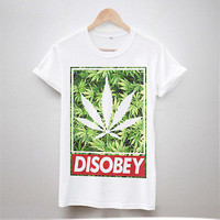 DISOBEY WEED PRINT T SHIRT