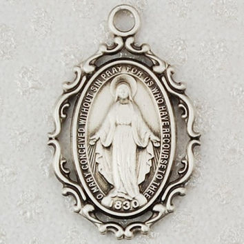 "Religious & Catholic Ornate Antique Design, Deluxe Satin Silver Finished Pewter Pendant, Fancy 1"" X 5/8"" Miraculous Medal, St. Mary 18"" Chain."