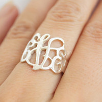 Monogram Ring--925 Sterling Silver monogram Ring,personalized monogram ring,Bridesmaids ring