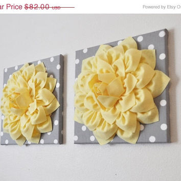 MOTHERS DAY SALE Nursery Wall Art, Custom Colors, Gray Polka Dot and Light Yellow, Baby or Kids Room, Set of 2 14 x 14