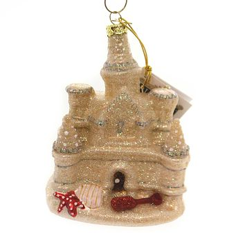 Noble Gems SAND CASTLE Glass Ornament Beach Ocean Sun Florida Nb1184