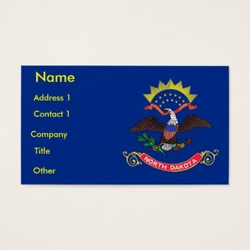 Business Card with Flag of North Dakota U.S.A.