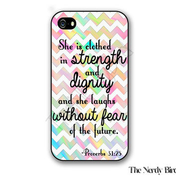 Colorful Chevron Proverbs 31:25 Bible Quote Plastic or Rubber iPhone 4, 5, or 5C Case