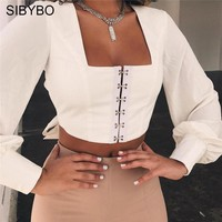 Sibybo Backless Lantern Sleeve Short T-shirt Women Square Collar Long Sleeve Summer Crop Top Women Bow Tie Sexy Women Tshirt