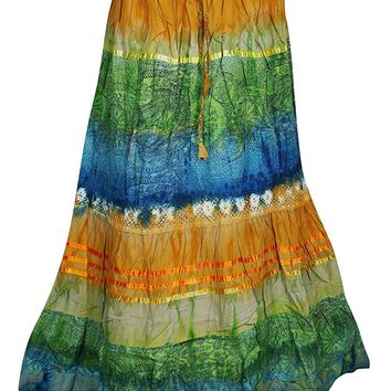 Mogul Interior Womens Harmony Tie Dye Peasant Boho Maxi Long Skirt S/M (Blue,Green): Amazon.ca: Clothing & Accessories