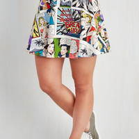 80s Short Length Full Playful Feeling Skirt in Comic Book