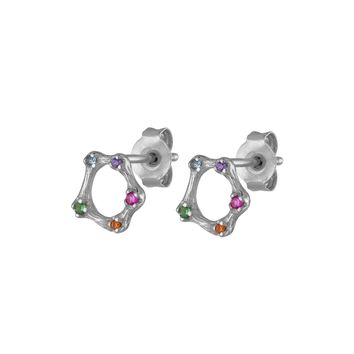 Rainbow Solidarity Studs in Sterling Silver