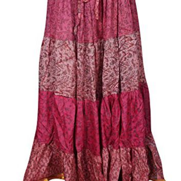 Mogul Interior Womens Tiered Skirt Recycled Sari Vintage Flirty Flare Belly Dance Long Maxi Skirts
