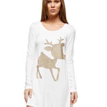 Christmas Rudolph the Glitter Reindeer Print Tunic, Ivory-Gold