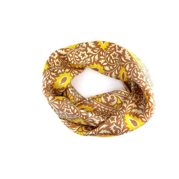 Echo Tan And Gold Silk Scarf / Vintage Scarves / Fashion Accessories