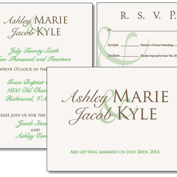 Modern Wedding Invitation Suite Printable PDF with Brown and Green Script Font Save the Date and RSVP Card
