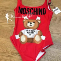 Red Moschino Fashion Women Beach Cute Bear Bathing Suits Summer Beach Swimsuit Swimwear Vacaton Holiday