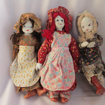 GLASS PORCELAIN DOLLS - Vintage Set of 3 - 8 inch