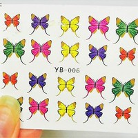 Water slide Yellow Butterfly Water Decal, Butterfly Nail Art