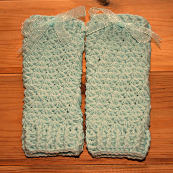 Aqua merino wool crochet toddler leg warmers 12 -18 months Girls winter leg wear Infant ballet accessories Ankle to knee warmer Girl clothes