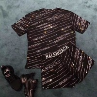"""Balenciaga"" Woman Casual  Wild Fashion Letter Drill Printing Short Sleeve Shorts Two-Piece Set Casual Wear"