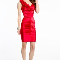 Short Satin V-Neck Dress with Ruffle Shoulder