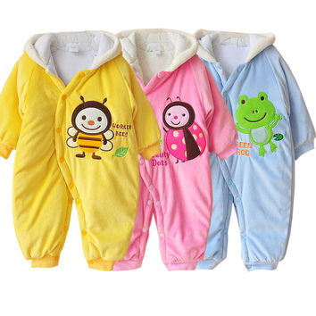 New Born Baby Clothes Fleece Overalls Winter Baby Boy Girl Rompers Animal Infant Clothing Meninas Cotton Warm Newborn Jumpsuits