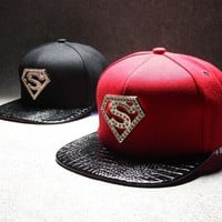 Heavy metal diamond Superman hats for men and women flat hip-hop cap = 1946324932