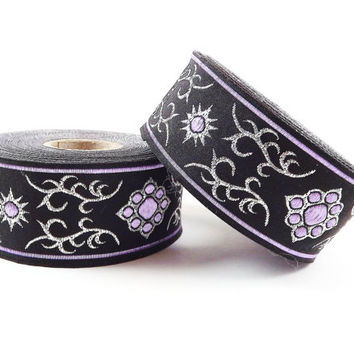 Lilac Purple Silver Black Ethnic Metallic Motif Woven Embroidered Jacquard Trim Ribbon - 1 Meter or 3.3 Feet or 1.09 Yards