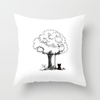 Black and White Kitty Under Tree Throw Pillow by The Nested Turtle