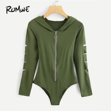 ROMWE Cut Out Sleeve Zipper Front Hoodie Ripped Bodysuit Spring Fall Long Sleeve Hooded Rock Army Green Sexy Women Skinny Top
