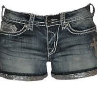 Cowgirl Tuff Crosses Shimmer Short: Sierra Western Wear
