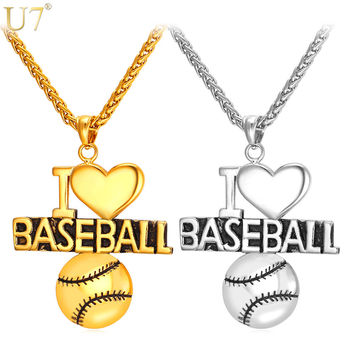 """I Love Baseball"" Charm Pendant for necklace Gold or Silver jewelry"