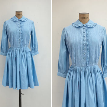 1960s Suzy Perette Dress - Vintage 60s Powder Blue Cotton Dress - Naif Dress