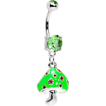 Green Gem Magic Mushroom Dangle Belly Ring