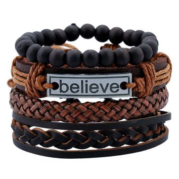 New Arrival Great Deal Awesome Gift Shiny Hot Sale Stylish Men Leather Set Bracelet [27793752084]