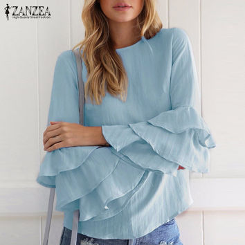 ZANZEA Women 2017 Spring Ladies Elegant Blouses Shirts O Neck 3/4 Sleeve Solid Blusas Tops Casual Loose Pullover Plus Size