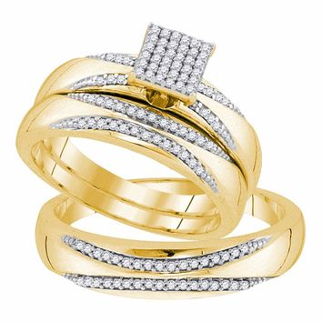 10kt Yellow Gold His & Hers Round Diamond Square Cluster Matching Bridal Wedding Ring Band Set 1/4 Cttw