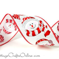 "Christmas Wired Ribbon 2 1/2"" Snowman Red White THREE YARDS - Reliant ""Snowmen Chill"" Wreath / Decor / Craft Wire Edged  Ribbon"