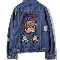 GUCCI Embroidery Tiger Fashion Long Sleeve Denim Cardigan Jacket Coat