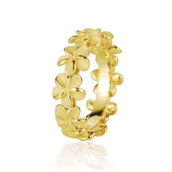 YELLOW GOLD PLATED SILVER 925 HAWAIIAN 5MM PLUMERIA FLOWER LEI RING SIZE 3 - 10