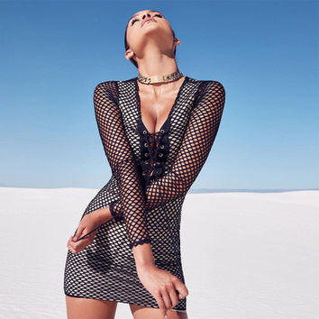 2017 Trending Fashion Hollow Bandage See-Through Mesh Sexy Strappy Nightclub Clubbing Party Erotic One Piece Dress _ 13429