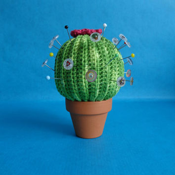 Crochet cactus pincushion, 10 customized pins included.