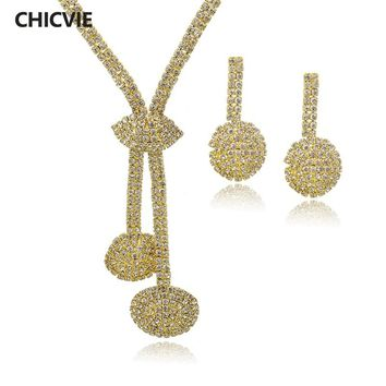 CHICVIE Indian Crystal Ethnic Jewelry Sets for Women Gold Color Big Chunky Long Necklace Earring Sets Supernatural Gifts