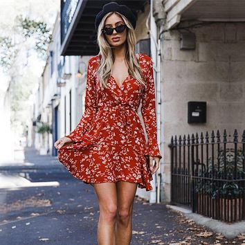 Deep V-neck Floral Print High Waist Women Short Dress