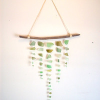 Assorted green sea glass mobile// Seaglass mobile// Boho beach decor// Wall hanging// Wall art