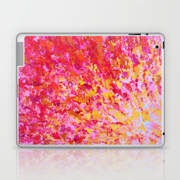 ROMANTIC DAYS - Lovely Sweet Romance, Valentine's Day Sweetheart Pink Red Abstract Acrylic Painting Laptop & iPad Skin by EbiEmporium | Society6