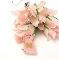 Cell Phone Charm Strap Pink Glow Foot 4 Leaf Clover