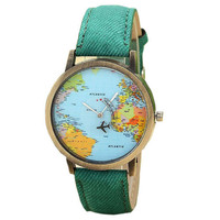 World map Plane Trip Pu leather green party band woman teen fashion travel watch