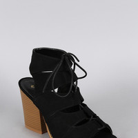 Qupid Suede Peep Toe Lace Up Heel Color: Black, Size: 8